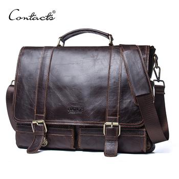 CONTACT #8217 S teczka męska skórzana torebka biznesowa laptop casual bardzo duże torby na ramię vintage messenger torby luksusowe bolsas tanie i dobre opinie Contact'S Prawdziwej skóry Skóra bydlęca Cowhide Leather Ił kieszeń Pojedyncze Poliester Mężczyźni 28cm Zipper hasp