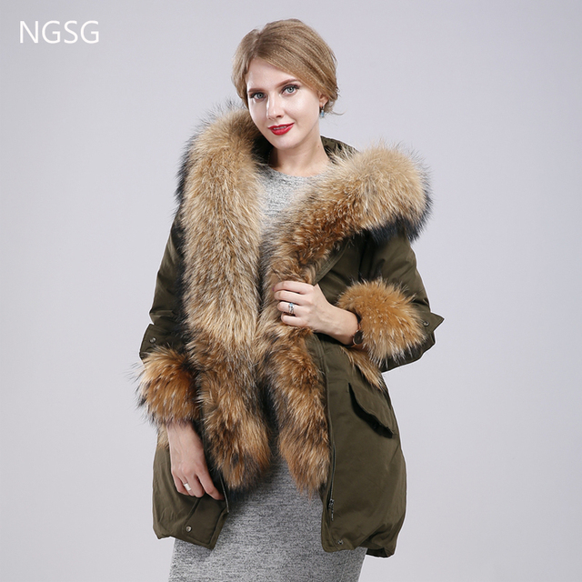 NGSG 2017 New Women Thick Down Feather Coat Removable Fur Raccoon Collar Cuff Army Green Casual  85cm Long Cotton Jacket Coat