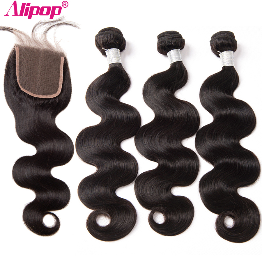 """Malaysian Body Wave 3 Bundles With Closure Human Hair Bundles With Closure ALIPOP 4""""x4"""" Lace Closure With Baby Hair Remy 4PCS-in 3/4 Bundles with Closure from Hair Extensions & Wigs    1"""