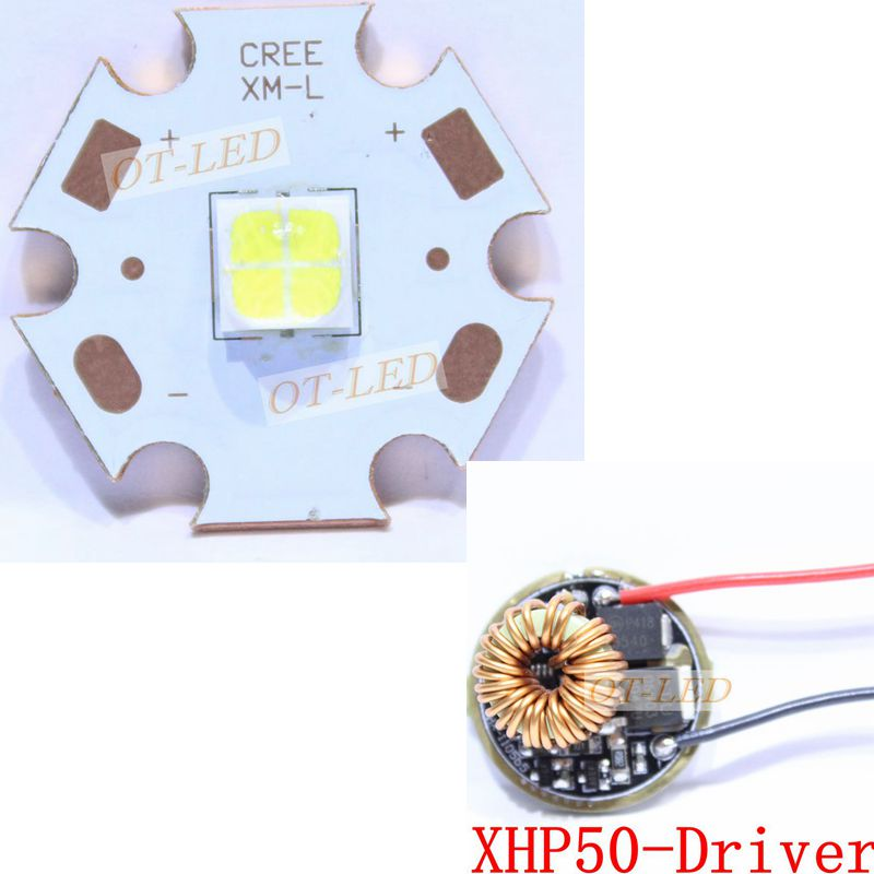 Cree XHP50 Cool White Neutral White Warm White High Power LED Emitter 6V 20mm Copper PCB + 22mm 1Mode / 5Modes Driver 1pcs cree xlamp xhp 70 xhp70 6v warm neutral cold white 30w high power led emitter chip blub lamp light with 20mm pcb heatsink