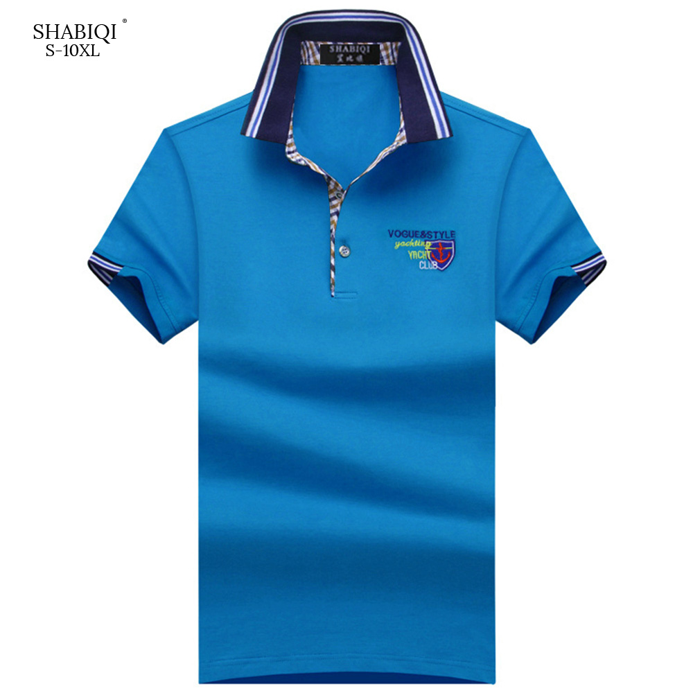 SHABIQI New 2019 Brand Men   Polo   Shirt Men Short Sleeve Cotton&Breathable Shirt Embroidery Shield   Polo   Shirt Plus Size S-10XL