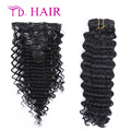 #1 Brazilian Clip in Hair Extensions natural black color clip in hair 100% Human loose curly Long Hiar brazilian virgin hair
