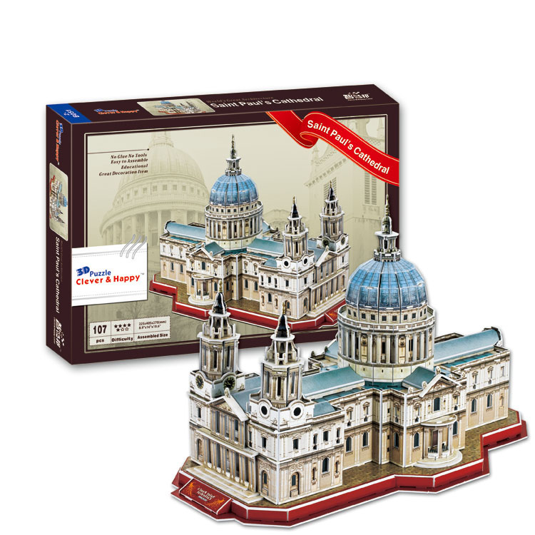 Candice guo 3D puzzle DIY toy paper building model assemble hand work game saint paul's cathedral UK London church kid gift 1pc 1 32 diy 3d supermarine spitfire ixc type fighter plane aircraft paper model assemble hand work puzzle game diy kid toy