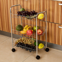 Smartlife Multi Function Three Layer Kitchen Rack, Pulley, Mobile Cart, Bathroom, Sundry Storage Rack, Vegetable Rack.