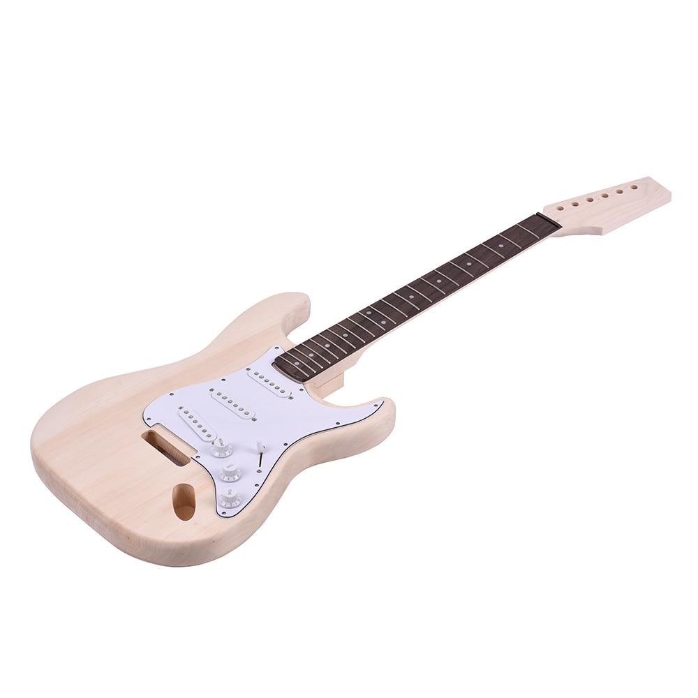 HLBY DIY Unfinished Project Luthier ST Electric Guitar Kit Maple Neck Set все цены