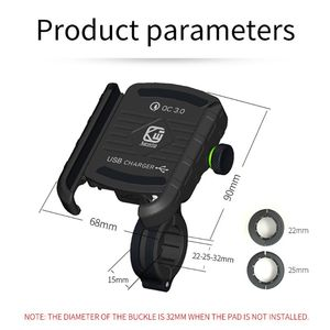 Image 4 - Waterproof Motorbike 360 Degree Motorcycle Handlebar Mirror Cell Phone Mount Holder with QC 3.0 USB Charger for iPhone Samsung