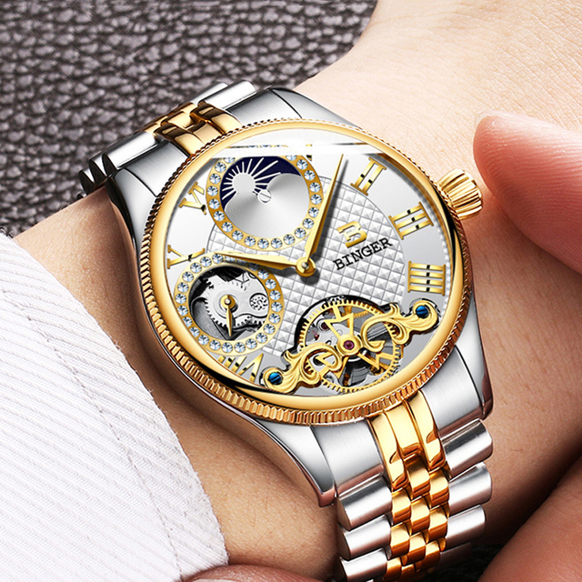 a3832929f5d0 Швейцарские часы Binger Мужские автоматические механические Роскошные  Брендовые ...