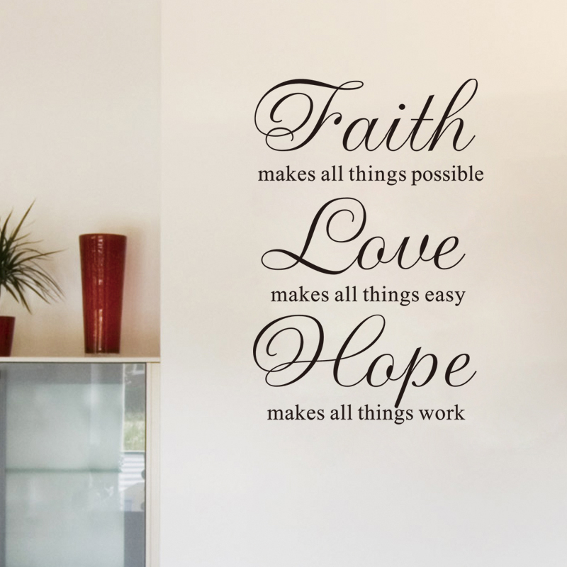 Us 11 14 Faith Love Hope Inspirational Vinyl Wall Stickers Quotes For Living Room Diy Home Decoration Art Removeable Decals Black In