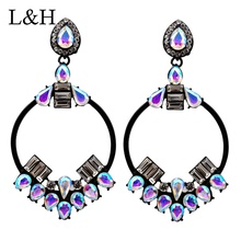 Luxury Crystal Big Circle Drop Earrings For Women Fashion Rhinestone Charm Dangle Statement Earrings Boucle D'oreille цена