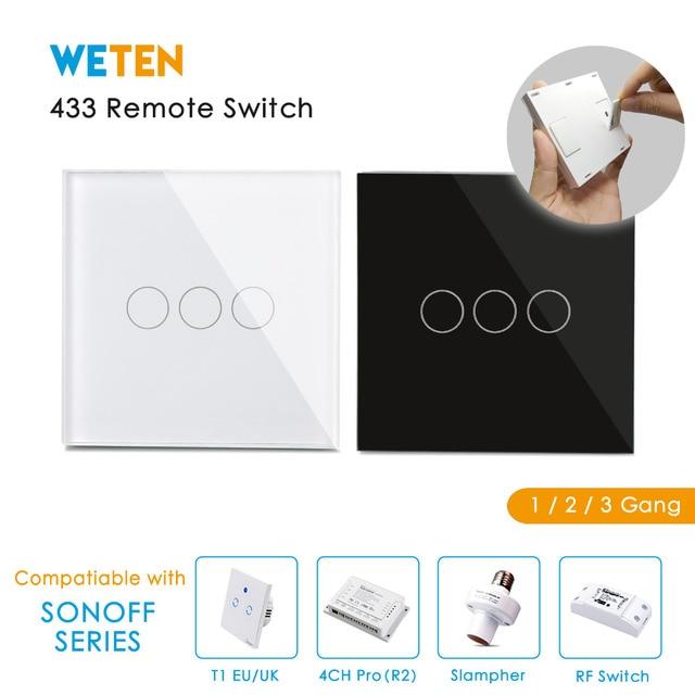 433 Mhz Control remoto táctil interruptor para Sonoff T1 Reino Unido UE Sonoff 4CH Pro R2 Slampher inteligente 433 RF de Control remoto interruptor de la luz