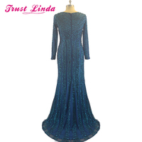 Real Picture Sexy V Neck Full Sleeves Mother Dresses Trumpet Long Sleeves Side Slit Evening dresses Prom Party Gowns
