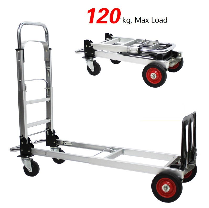Hand Truck 2 In 1 Folding Hand Trucks 120KG Convertible Hand Truck and Dolly Utility Cart Heavy Duty with Flat Wheels hand in hand