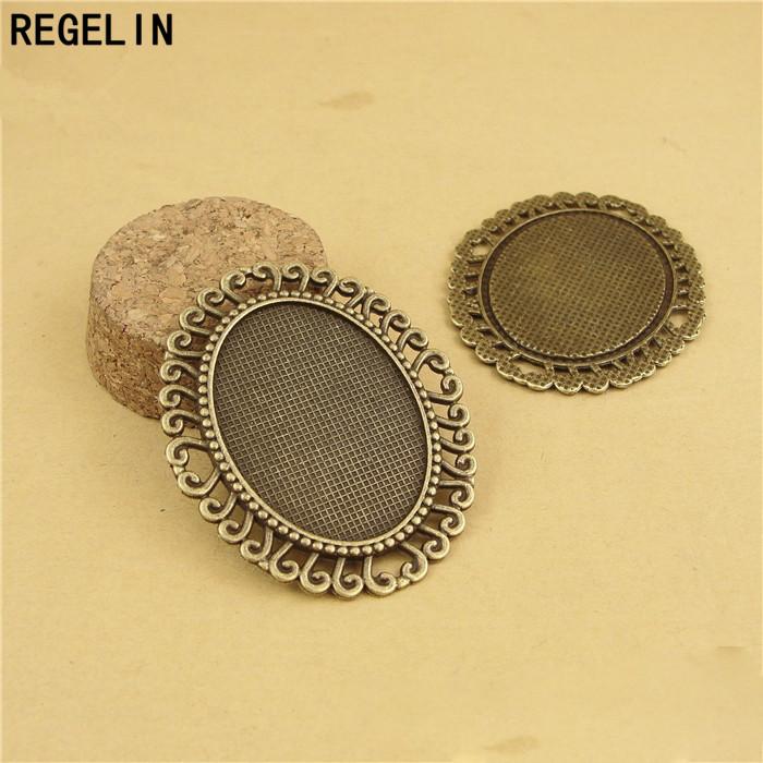 REGELIN Antique Silver Plated Alloy Cameo 30*40mm Oval Cabochon Settings 5pcs/lot Jewelry Findings & Components Accessories