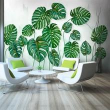 Papel tapiz 3d personalizado simple hojas verdes fondo estilo acuarela pared - seda material impermeable цена 2017
