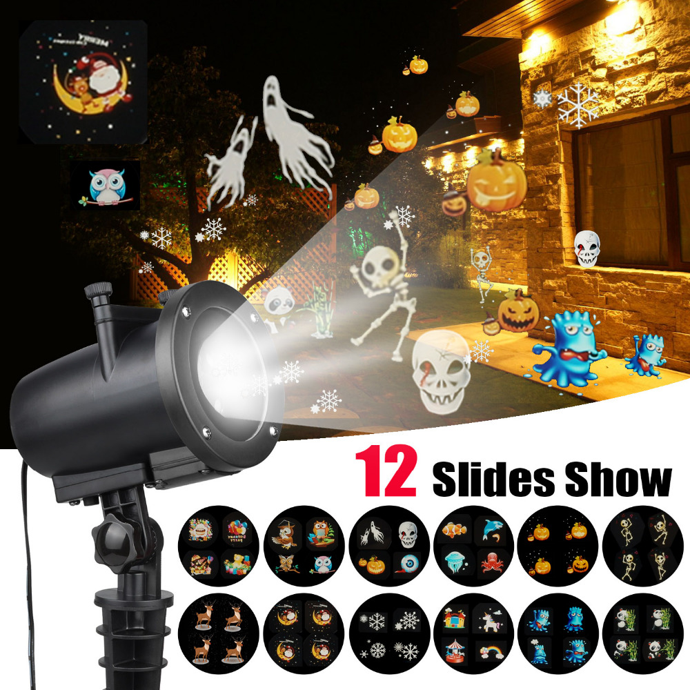 Christmas Anime Pattern Projector Light IP65 Halloween Laser Projector with 12 Switchable Slides EU/US Christmas Laser ProjectorChristmas Anime Pattern Projector Light IP65 Halloween Laser Projector with 12 Switchable Slides EU/US Christmas Laser Projector