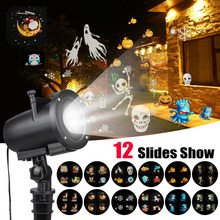 LED Christmas Anime Pattern Projector IP65 Halloween Laser with 12 Switchable Slides EU/US