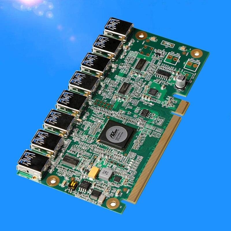 Nova PCI Express PCIe 1 para 8 16X Slots PCI-E Riser Cartão 16X turn 8 Porta USB 3.0 Adaptador de Cartão multiplicador de porta para BTC Mineiro Mineração