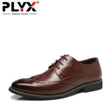 PHLIY XUAN New 2018 Fashion Men Genuine Leather Shoes Brogue Pointed Flat Men Wedding Party Dress Shoes