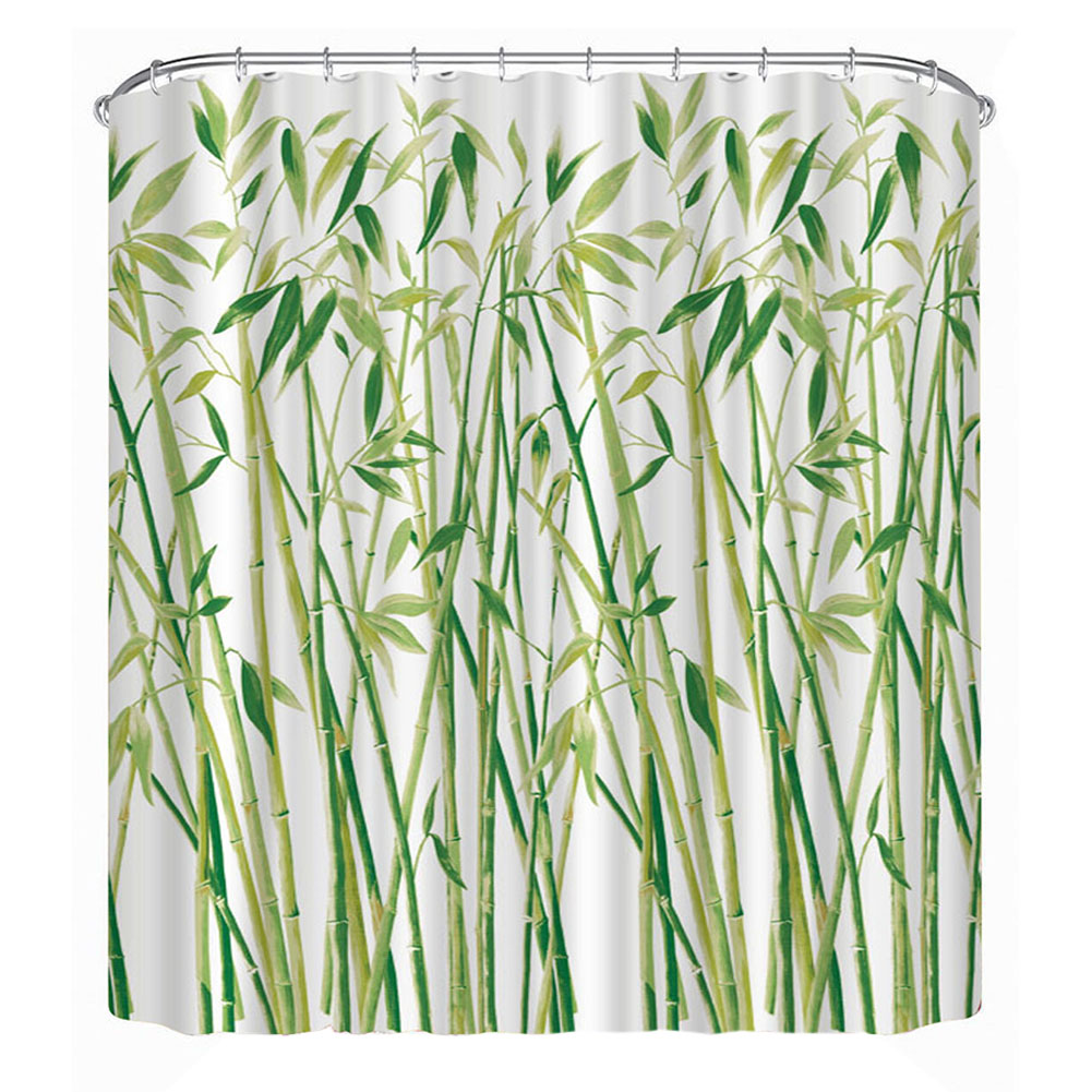 3D Small Bamboo Bathroom Shower Curtain Waterproof Polyester Large Bath  Curtain (180*180cm)
