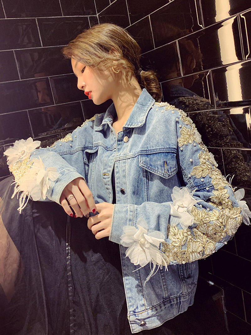 YingYuanFang mode nouvelle sauvage lâche printemps lourd travail brodé veste en denim perlé