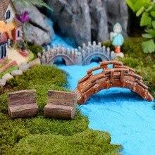 Wooden Bench Model House Decor Miniature Dollhouse Furniture Mini World Garden Decoration Model Accessories