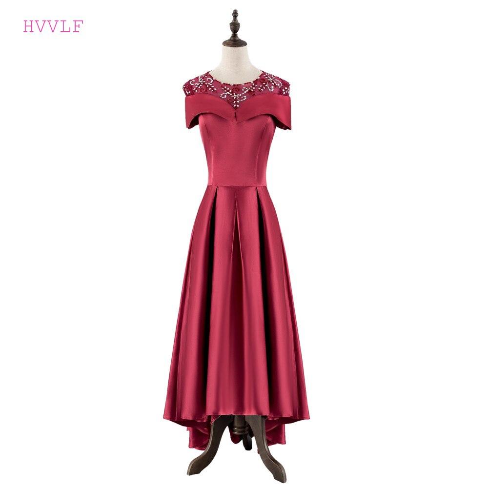 Burgundy 2019   Prom     Dresses   A-line Cap Sleeves Short Front Long Back Bead Elegant Long   Prom   Gown Evening   Dresses   Robe De Soiree