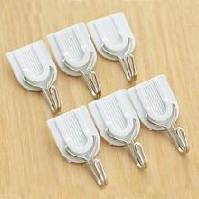 White Self-adhesive Wall Hook Hanger Plastic Sticky Door after Seamless tile strong stick hook wall hook hanger 6Pcs(China)