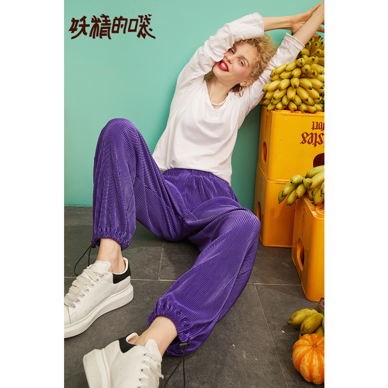 ELFSACK 2019 New Solid Woman Pants Elastic Waist Casual Mid Women Trousers Oversized Straight Female Full Length Ladies Pants