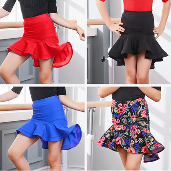 009cfd8d313 Girls Ballroom Salsa Cha Cha Dance Competition Costume Latin Skirt For Kid  Dancing Clothing Clothes Wear