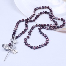 Wine Red Baroque Natural Freshwater Pearl Long Women Necklace With Dragonfly Clasp Girls Birthday Gifts