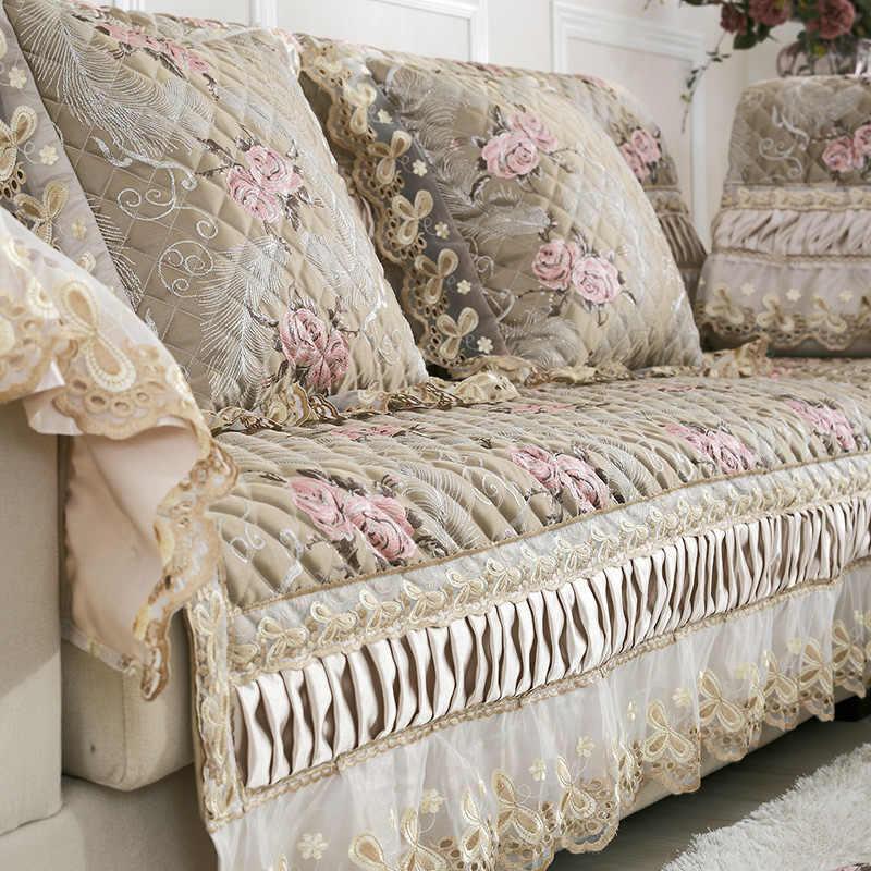 Conjuntos de sofá de couro Europeu moderno Jacquard luxo de cetim rendas tampa do sofá almofada do sofá almofada de tecido deslizamento toalha grossa tampa traseira