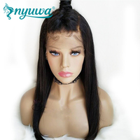 NYUWA 150% Density Full Lace Human Hair Wigs Glueless Remy Hair Brazilian Straight Lace Wigs Pre Plucked Natural Hairline
