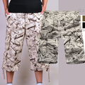 summer pants men multi-Pocket cargo pants cropped working trousers white washed loose straight casual men pants