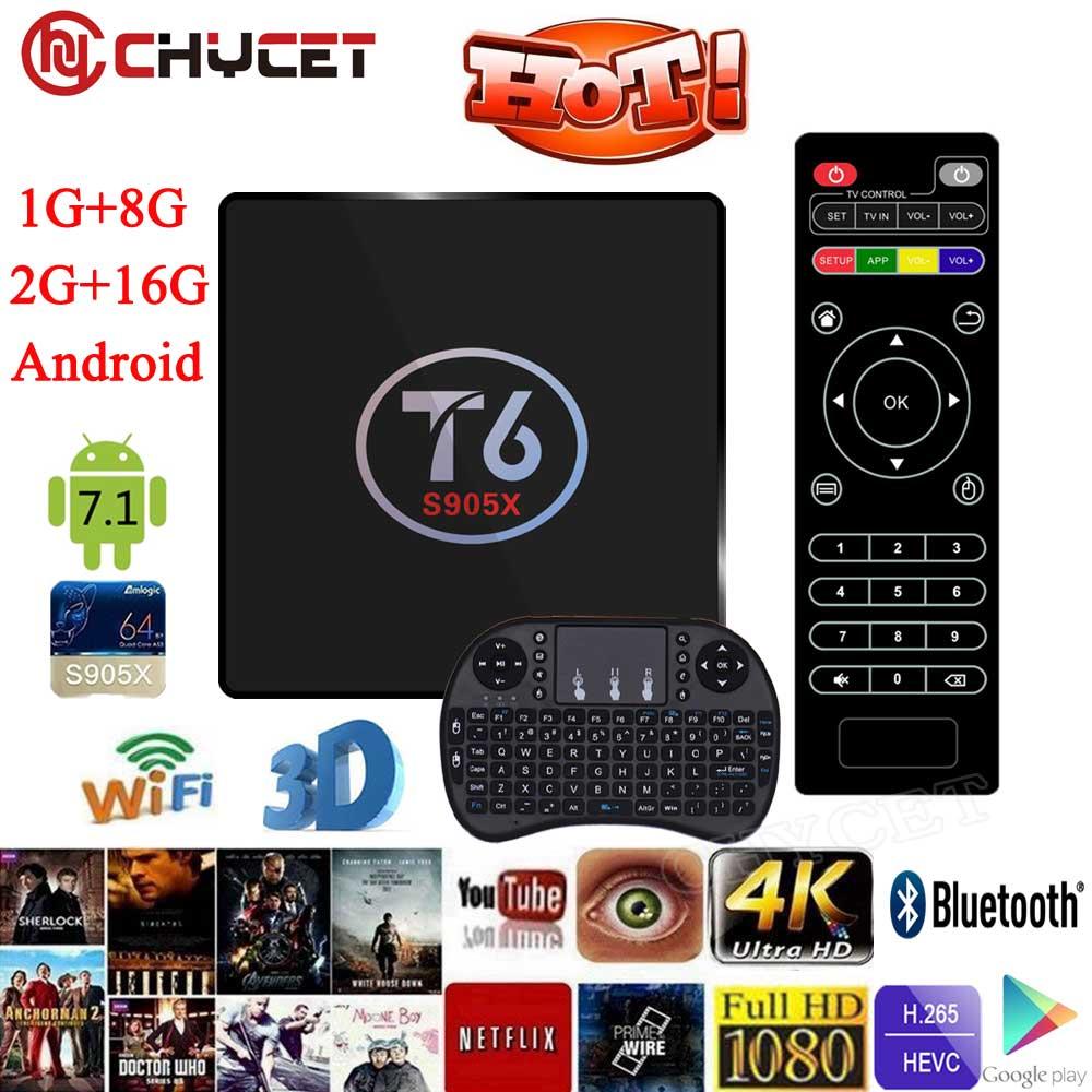 T6 <font><b>TV</b></font> Box Amlogic S905X Quad Core <font><b>TV</b></font> Box 1G/8G 2G/16G WiFi Android Smart <font><b>tv</b></font> box Media Player 4K*2K Set-top Box + Keyboard