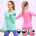 Фитнес повседневная футболка компрессионные колготки женские упражнение футболки с длинным рукавом футболки майка женская одежда тис и топы