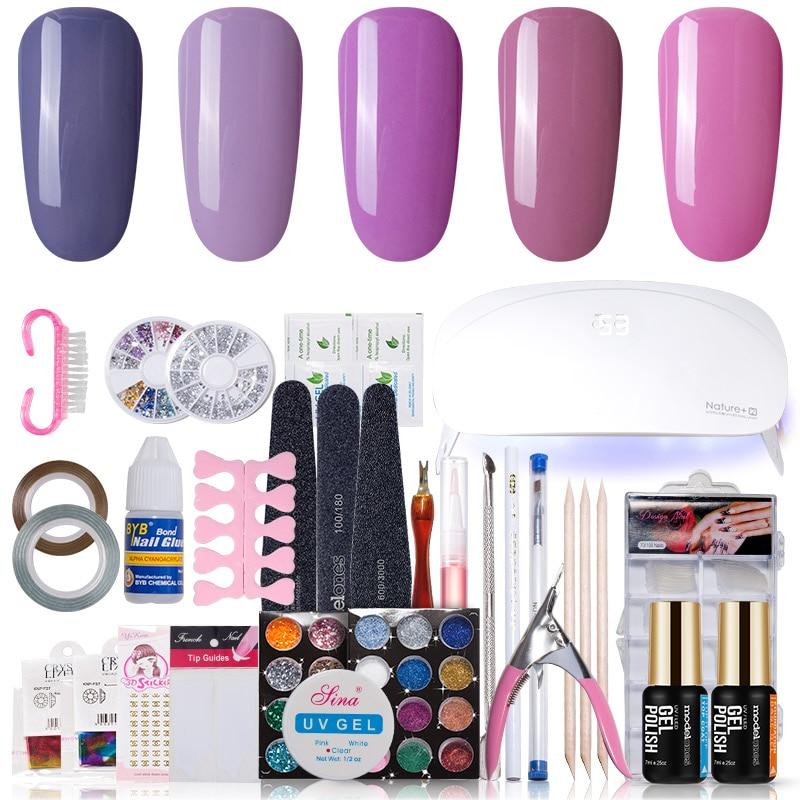 Modelones Nail Art Set UV LED Lamps Nail Dryer 5 Color nail Gel polish uv gel varnish top base coat manicure tools set nail kits nail art manicure tools uv led lamp nail dryer 6 color 10ml base top coat soak off gel varnish nail polish nail set kits