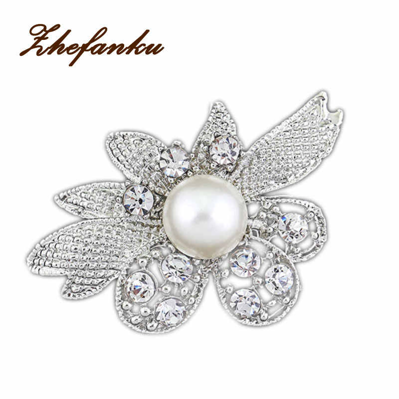 Fashion Women Crystal Flower Vintage Brooch For Wedding Party Dress Color  Silver Plated YBRH-0250 599b817bb975