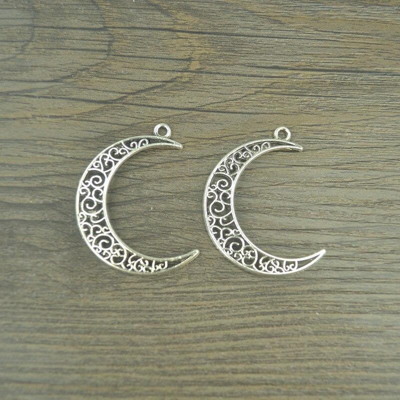 10 Stücke Vintage Tibetischen Silber Überzogen Mond Charme Metall Anhänger Für Schmuck Handgemachte Fertigkeit Diy 41*31mm 4129c