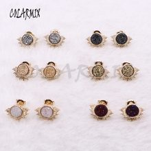 10 pairs Mix Druzy stud earrings geode stone half solar beads handcrafted jewelry women wholesale jewelry for women 3913(China)