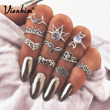 Vienkim 10 Pcs/Set Women Bohemian Fatima Hand Crown Ring Set Hollow Caved Retro Elephant palm moon lotus  Joint Knuckle Rings
