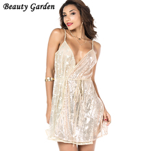 Beauty Garden Female Sleeveless Sexy Mini Dress 2017 Evening Party Paillette Fashion Elegant Club Women Short vestidos Casual