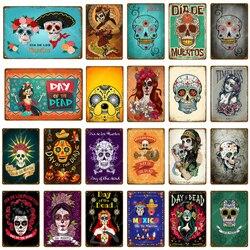 Caveira de metal de açúcar, sinais de estanho mexicano, dia do festival da placa morta, pintura na parede, loja de artigos de tatuagem domésticos decoração