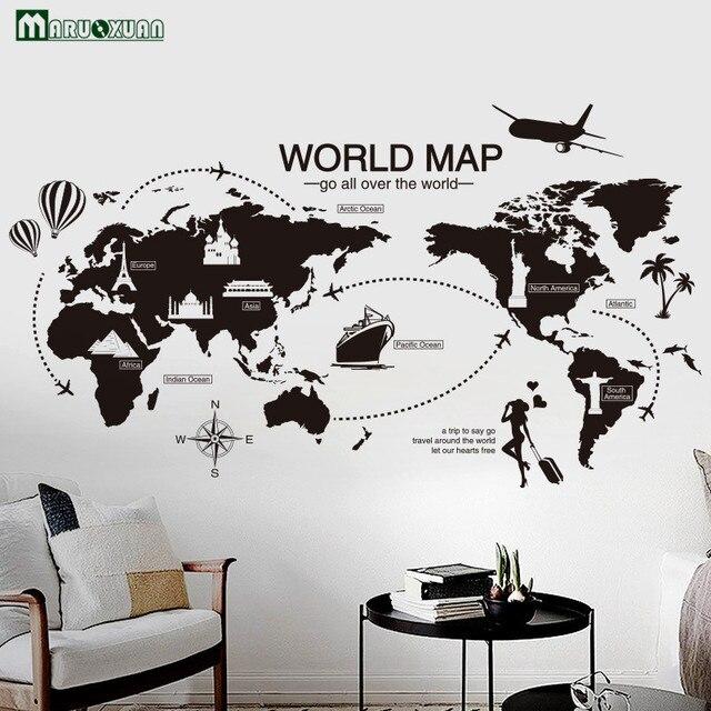 Maruoxuan Criativo Viagem Preto Mapa Do Mundo Adesivos
