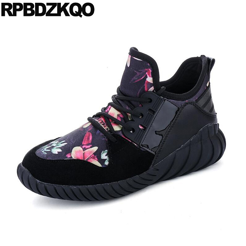 Comfy Flats Women Floral Black Cheap Shoes China Elevator Round Toe Lace Up Flower Fashion Sneakers High Top Spring Autumn Drop