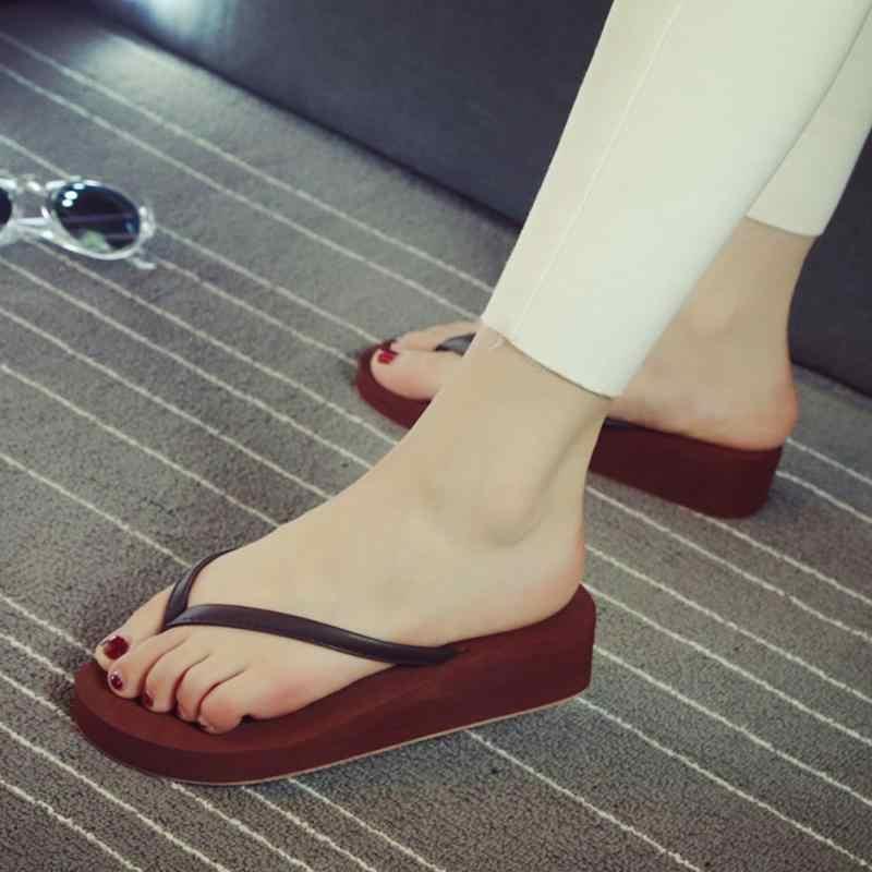 ... New 1 Pair Comfortable Summer Women Home Beach Soft Wedge Sandals PU  Non-slip Leisure ... e327811fc2ac