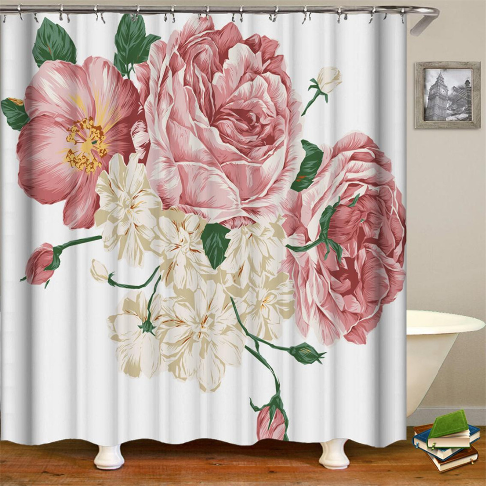 Home Goods Beautiful Fabric Pink Floral Buds With Retro Effects Polyester Fabric Flowers Bathroom Set With Hooks Shower Curtain