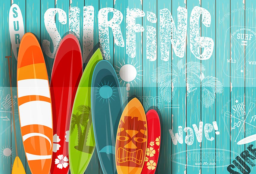 Photography backdrops surfboard Wood Backdrop for Summer holiday Blue Sea and Sky Photo Background Shoot