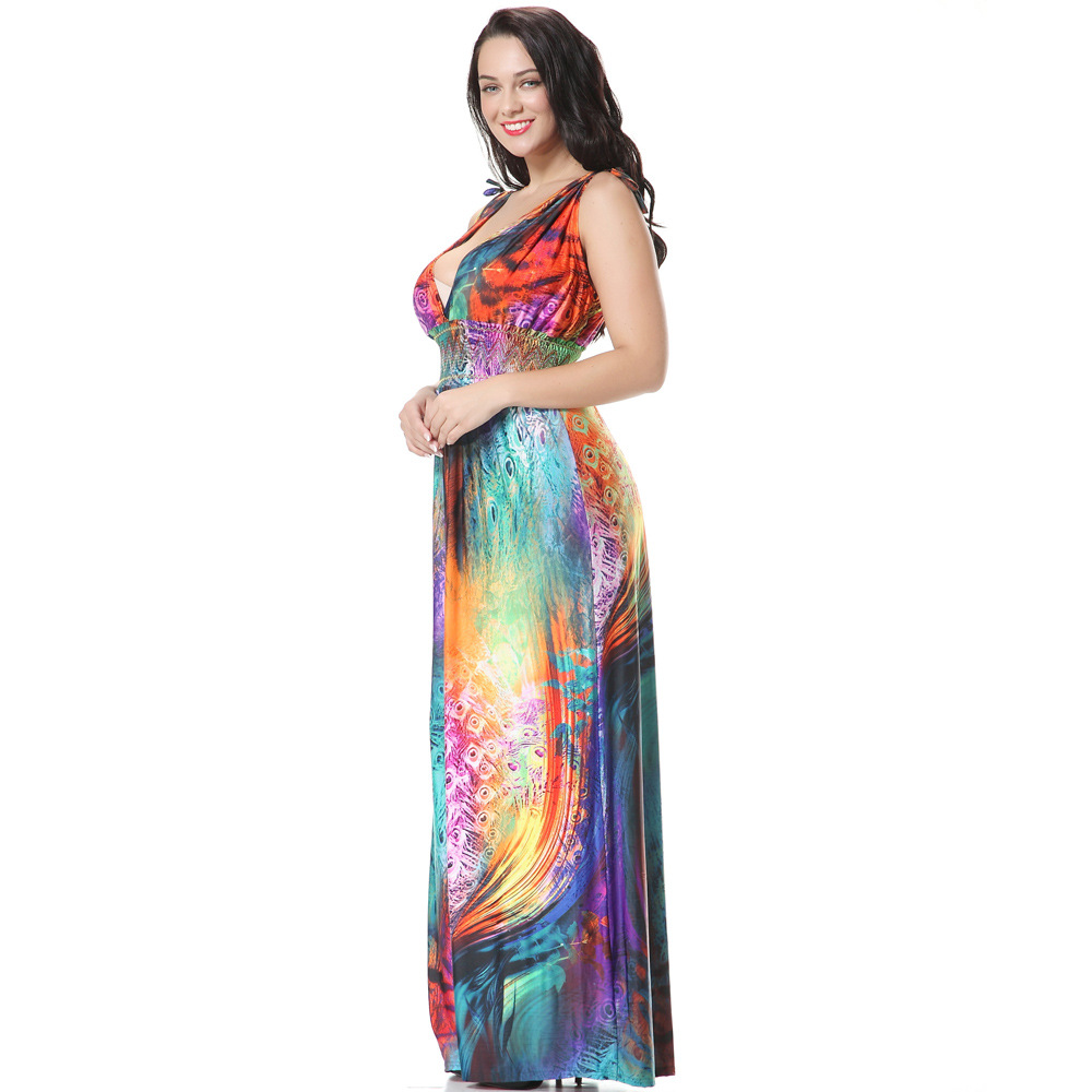 Aliexpress.com   Buy Sexy New Plus Size Women Clothing 6XL 5XL 4XL Long  Bohemia Maxi Dress Summer Chiffon Beach Dresses Colorful Feather Flower  Dress from ... edca38bc6317