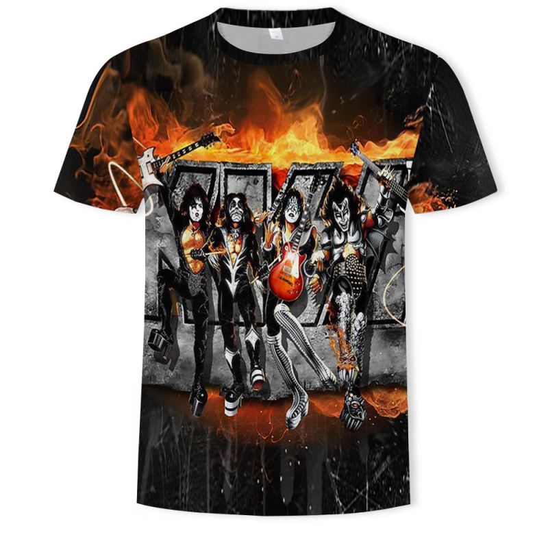 Rock Band   T     shirt   Kiss Clothes Tshirt Tees Tops Clothing Men 3d   T  -  shirt     T  -  shirts   Mens Ftness New