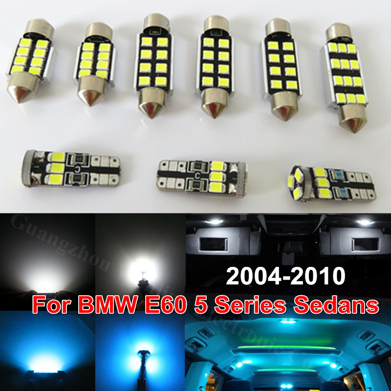 WLJH 17x Ice Blue White Error Free 2835 SMD Led Bulb Lighting Interior Light Kit for BMW E60 5 Series Sedans 2004 - 2010 Canbus cawanerl car canbus led package kit 2835 smd white interior dome map cargo license plate light for audi tt tts 8j 2007 2012